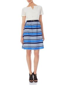Anglaise dress with stripey daisy print skirt