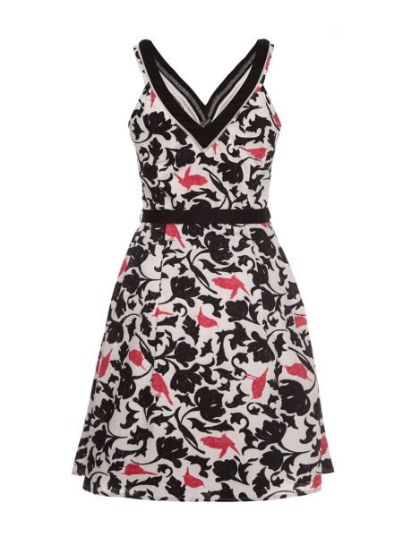 Uttam Boutique Tropical bird camouflage print fit & flare dress