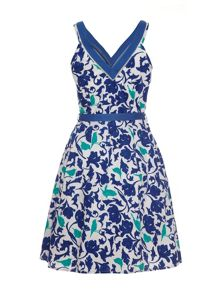 Tropical bird camouflage print fit & flare dress