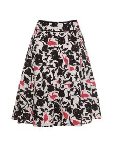 Tropical bird camouflage print skirt