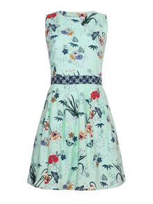 Balinese print fit & flare dress