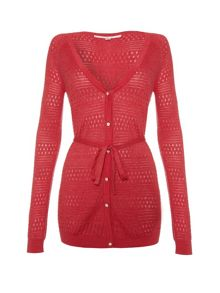 Pointelle cardigan with self tie