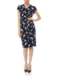 Flower shadow wrap dress