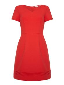 Ponte dress with pin tuck detailing