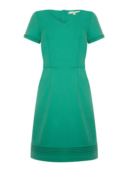 Uttam Boutique Ponte dress with pin tuck detailing