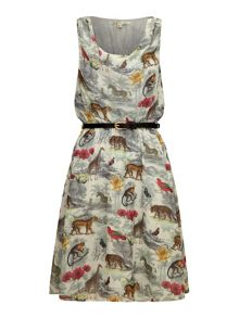 Uttam Boutique Noah`s safari print cowl neck dress