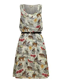 Noah`s safari print cowl neck dress