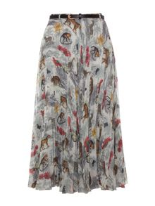 Noah`s safari print pleated midi skirt