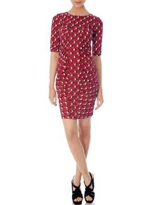 Geo flower print ruched dress