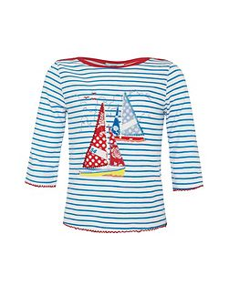 Girls stripey boat t-shirt
