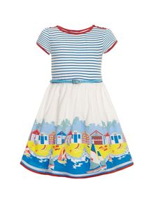 Girls Nautical Striped T-Shirt Dress