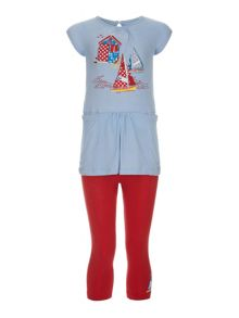 Girls boat tunic with leggings set
