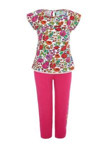Girls Floral Top And Legging Set