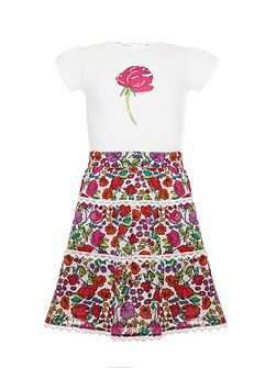 Uttam Girls Garden Skirt And Rose T-Shirt Set