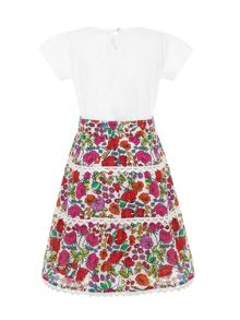 Girls Garden Skirt And Rose T-Shirt Set