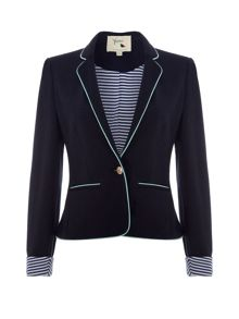 Yumi Ponte Blazer with White Piping Trim