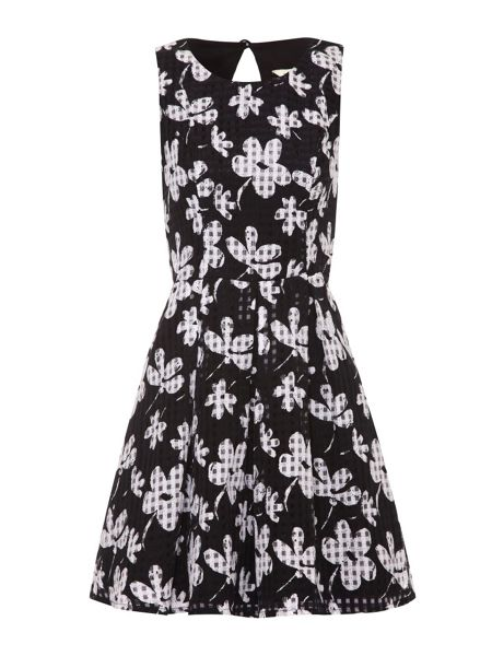 Yumi Floral Check Skater Dress