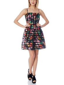 Stripey Floral Organza Prom Dress