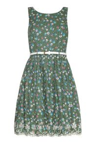 Dotty Floral Printed Dress