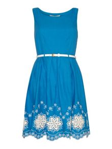 Yumi Scalloped Hem Embroidery Skater Dress