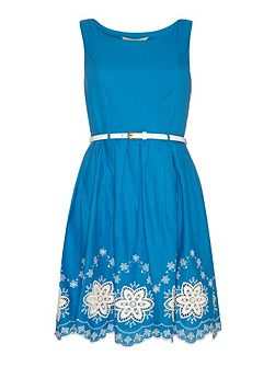 Scalloped Hem Embroidery Skater Dress