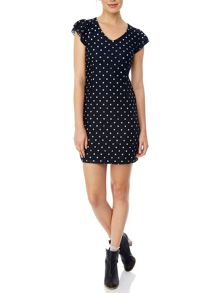 Yumi Lace Polka Dot Bodycon Dress