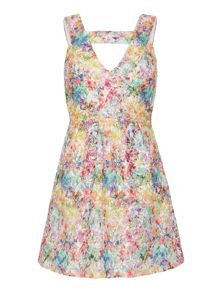 Yumi T-Bar Printed Lace Dress