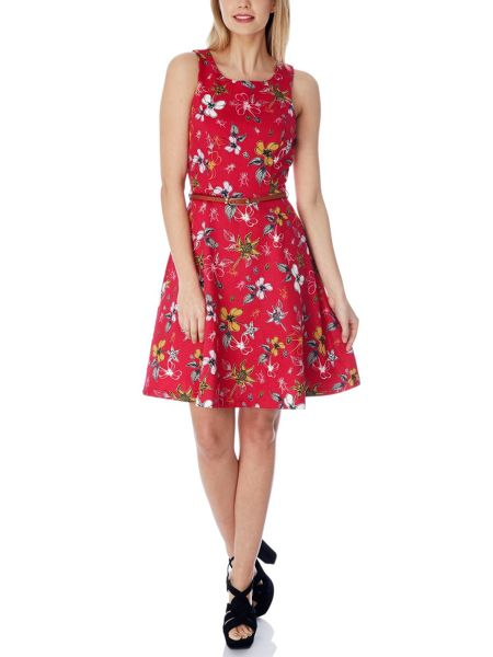Yumi Floral Nature Print Skater Dress