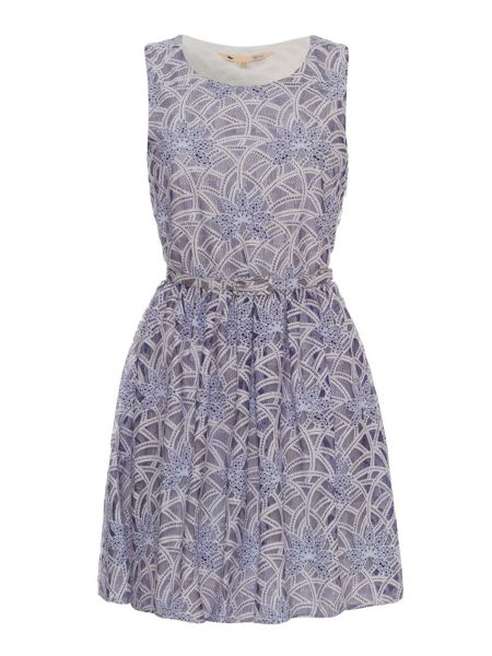 Yumi Large Scale Lace Skater Dress with Belt
