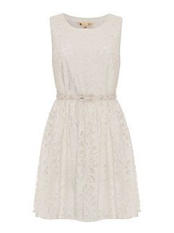 Large Scale Lace Skater Dress with Belt