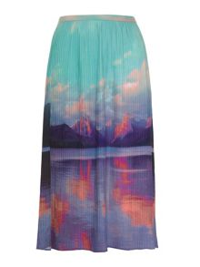 Mountain Print Midi Skirt