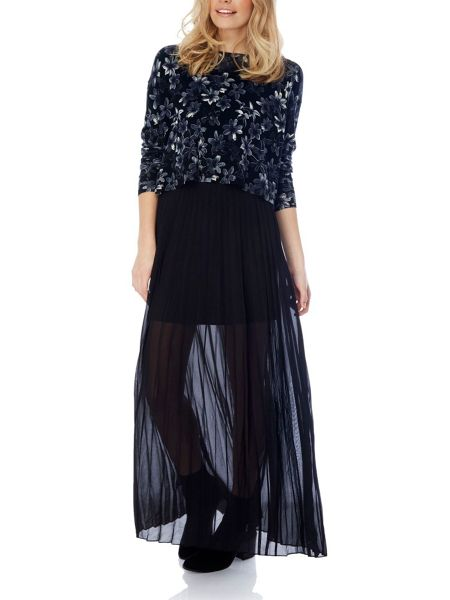 yumi pleated maxi skirt black house of fraser