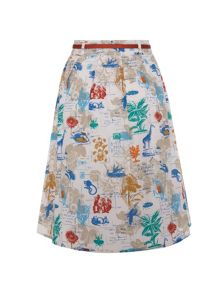 Flora and fauna postcard skirt