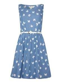 Yumi Chambray Butterfly Print Dress