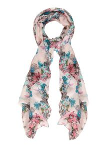 Bird and Flower Print Scarf