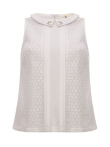 Lace Top with Bead Collar Detail