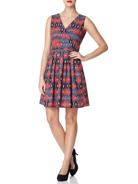 Mela London Diamond Print Tie Back Dress