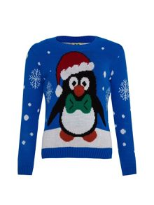 Girls christmas penguin jumper