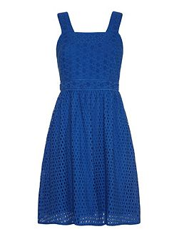 Mixed panelled broderie anglaise dress