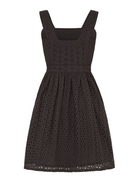 Uttam Boutique Mixed panelled broderie anglaise dress