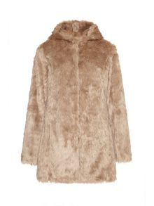 Mela Loves London Hooded faux fur coat