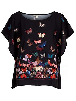 Butterfly Storm Print Top