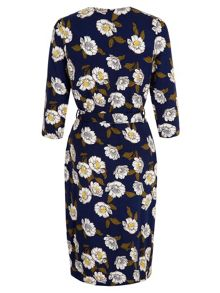 Floral Print Wrap Over Dress