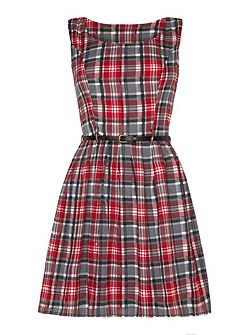 Checked Belted Dress