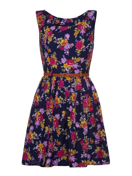 Mela London Floral Fit and Flare Dress