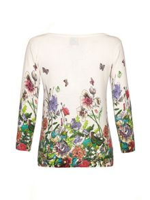 Butterfly and Floral Print Cardigan