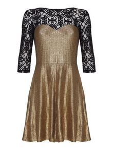 Mela Loves London Lace lamé dress