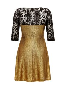 Gold and lace sweetheart dress