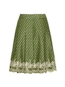 Polka Dot and Lace A-Line Skirt