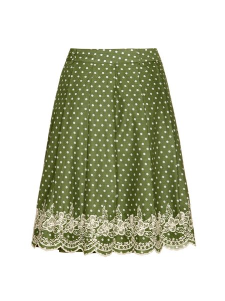Yumi Polka Dot and Lace A-Line Skirt